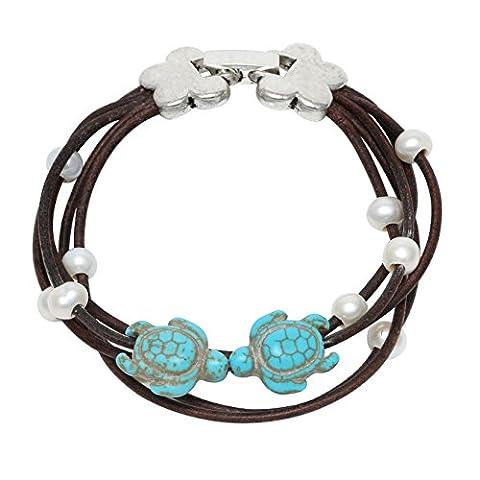 Maimani Tortue Turquoise Blanc perle d'eau douce Bracelet de perles en véritable cuir Marron
