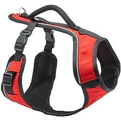 PetSafe - Harnais pour Chien Moyen EasySport (M) avec Poignée de Contrôle - Réfléchissant - Ajustable - Confortable - Rembourré - Rouge