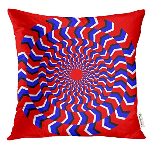 Burgund Illusion (Throw Pillow Cover Psychedelic Hypnotic of Rotation Perpetual with Bright Optical Illusions Spin Cycle Circle Decorative Pillow Case Home Decor Square 18x18 Inches Pillowcase)