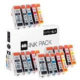 20 Druckerpatronen mit Chip und Füllstandsanzeige kompatibel zu Canon PGI-520 / CLI-521 passend für Canon Pixma IP-3600 IP-4600 IP-4700 MP-540 MP-550 MP-560 MP-620 MP-630 MP-640 MX-860 MX-870