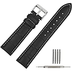 TStrap Genuine Leather Watch Strap 22mm Black Alligator Grain Military Watch Band w/ Watch Clasp Buckle