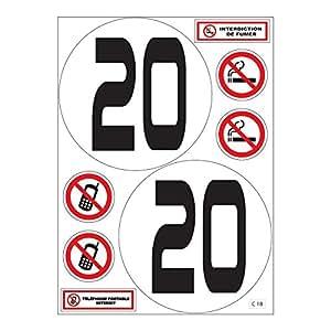 Planche A4 de stickers limitation vitesse 20 km/h camion bus autocollant - C18
