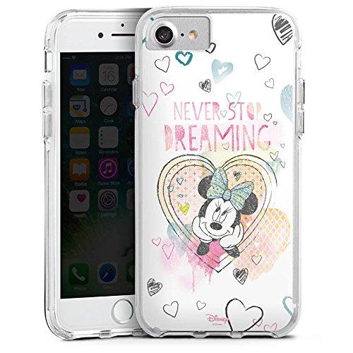 Apple iPhone 8 Bumper Hülle Bumper Case Glitzer Hülle Disney Minnie Mouse Fanartikel Geschenke Bumper Case transparent
