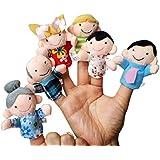 Happy Cherry - (Set de 6) Títeres Marionetas de Dedos Terciopelo Miembros de la Familia en Historias Ayudante Juguetes Educativos para Niños Niñas