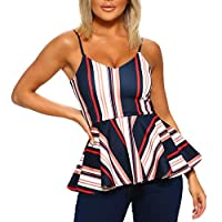 Dubocu Women Tank Top Camis Sleeveless Off The Shoulder Printed Ruffle Hem Floral Print Summer Casual Vest Tank Tops T-Shirt Blouse(Navy,S)