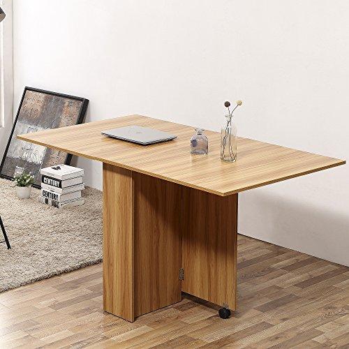Tavolo Da Cucina Pieghevole Con Ruote.Homcom Tavolo Da Pranzo Pieghevole Design Moderno Ruote Ripiani