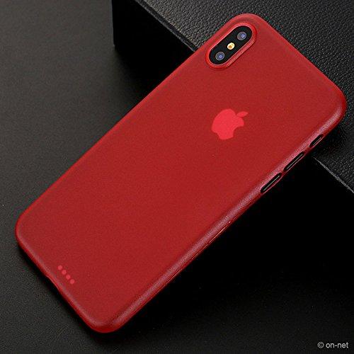 iPhone X Custodia Nero Opaco, Bianco, Blu o Rosso   On-Net iPhone cellulare CUSTODIA PROTETTIVA CON 0,3mm di spessore Sottile MA resistente flessibile   Custodia Case Back Cover iPhone di custodia pe Rot