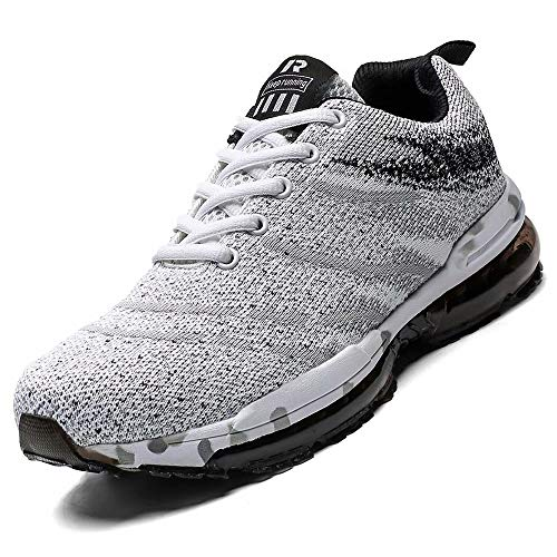 Mabove Laufschuhe Herren Damen Turnschuhe Sportschuhe Straßenlaufschuhe Sneaker Atmungsaktiv Trainer für Running Fitness Gym Outdoor(Weiß/9699,44 EU) Mesh-trainer