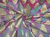TheFabricFactory Brokat-Stoff, Blau, Pink x Metallic Gold,
