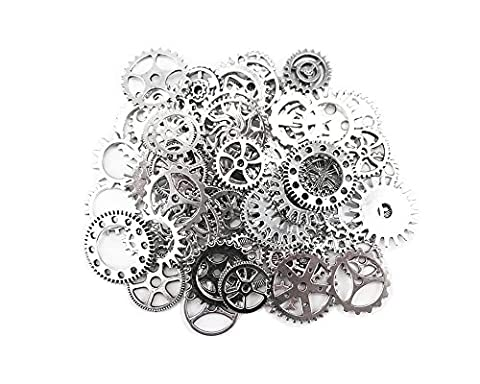 QTMY 100 Gram Antique Wheel Gears Charms Pendant Clock Watch