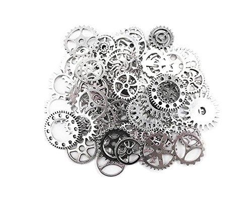 Antike Steampunk Getriebe Zahnräder Charms Uhr Räder für Basteln Cosplay Halloween Dekoration (Silber) (Metall-halloween-dekoration)
