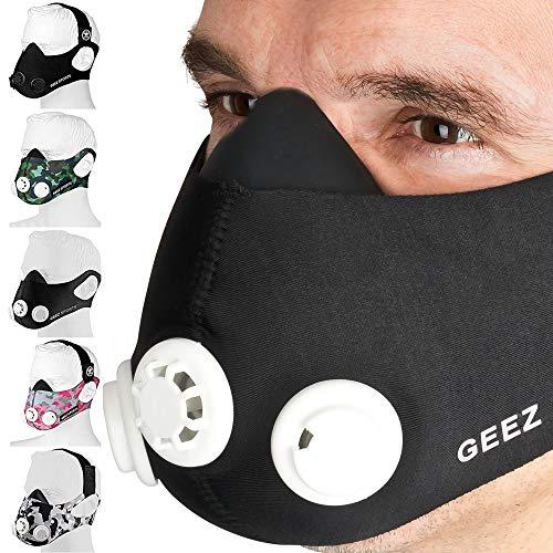 GEEZ - Máscara de entrenamiento profesional para entrenamiento en altitud - Aumento de la aptitud física, máscara de respiración, máscara de entrenamiento, máscara de hipoxia, trainings mask