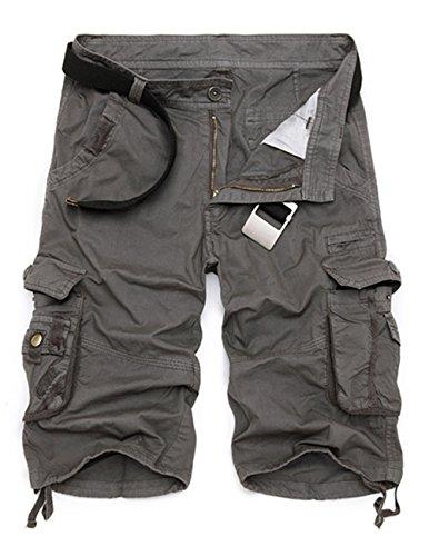 Menschwear Herren Vintage Cargo Shorts Bermuda Kurze Hose Sommer Kurze Hose Grau