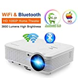 CAIWEI LCD Beamer HD Android 6.0 WIFI Bluetooth 3600 Lumen Videoprojektor LED Heimkino Projektor 4500:1 Kontrast mit HDMI VGA USB Audio Schnittstellen für DVD TV-BOX Macbook Laptop iPad Smartphone Xbox Tablett in Weiß