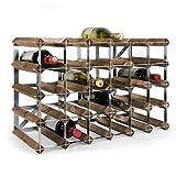Sistema Botellero modular TREND, máx. 30 botellas, roble oscuro, ampliable/apilable - alt. 42 x anch. 61,2 x pr. 30 cm