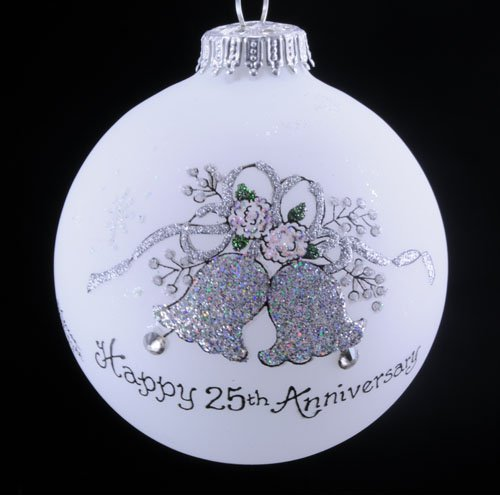 Home and Holiday Shops Happy 25th Anniversary Bells Christmas Glass Ornament Made in USA -