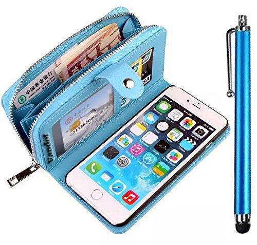 iPhone 6s Plus Hülle, iPhone 6 Plus Hülle, Vandot Echt Leder Multifunktions Zipper Geldbörse Schutzhülle für iPhone 6s Plus / 6 Plus Ledertasche Lederhülle Genuine Leather Abnehmbar Detachable Reißver Zipper Blau