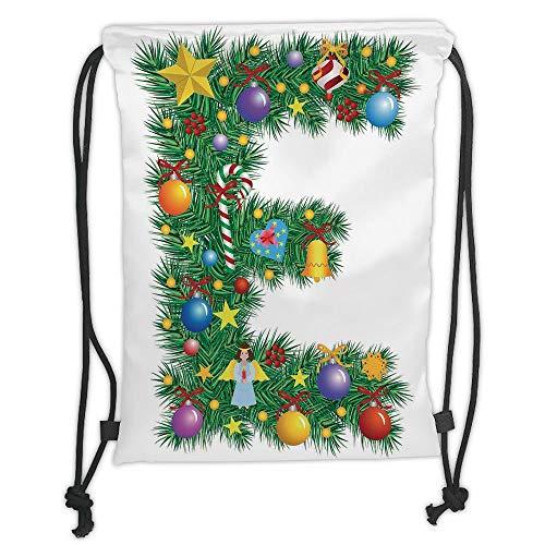 Icndpshorts Drawstring Backpacks Bags,Letter E,Seasonal Holiday Candy Cane Big Star Praying Angel Capitalized Letter E Alphabet Decorative,Multicolor Soft Satin,5 Liter Capacity,Adjustable STR