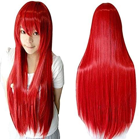 Ularma 80CM Long Ligne droite Cosplay Perruque Multicolor Chaleur Résistant à la Complet Perruques Rouge