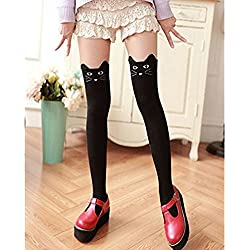 1 par Delgado Moda calcetines de la rodilla del algodón Modelo lindo del gato piernas Calcetines mantener el calor Elástico Respirable medias para Niña Mujer (Negro)