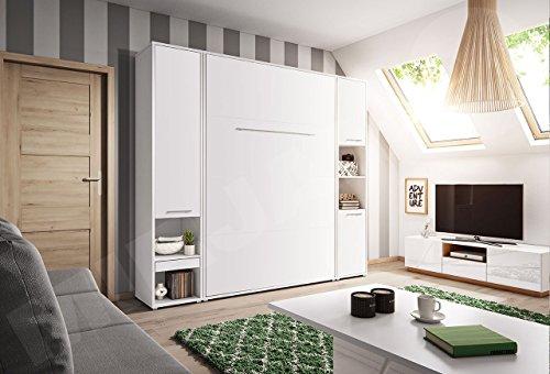 Mirjan24  Schlafzimmer-Set Concept Pro I Vertical, Wandklappbett und 2 Regale, Wandbett mit Lattenrost, Bettschrank, Klappbett, Funktionsbett (Weiß, CP-01 (140×200)) - 3