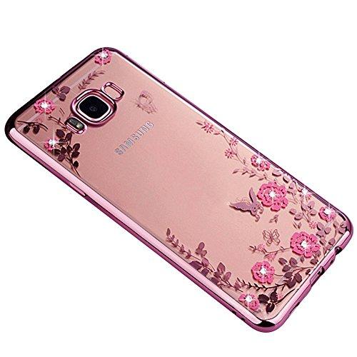 Galaxy A520 Hülle, Galaxy A5 2017 Schutzhülle, Samsung A520F Case, SevenPanda Durchsichtig Malerei Schmetterling Blumen Glänzend Glitzer Überzug Bumper für Samsung Galaxy A5 (2017) SM-A520F - Roségold