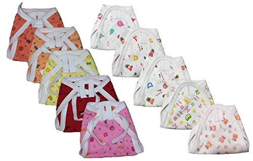 Montu Bunty Wear New born Baby Cotton Nappies(Pack of 10) (5Color + 5White)