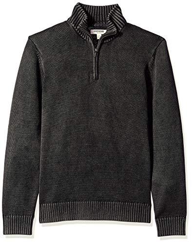 Marca Amazon - Goodthreads - Jersey de algodón suave con cremallera corta para hombre, Negro (washed black Wbk), US M (EU M)