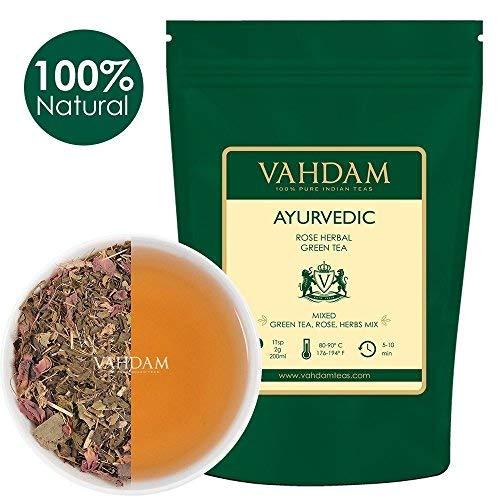 Té de Hierbas Ayurvédico (50 tazas), 21 HIERBAS, té 100% natural, hojas de té verde orgánico mezcladas con 21 hierbas medicinales de la India, se sirven calientes o con hielo, 100gr
