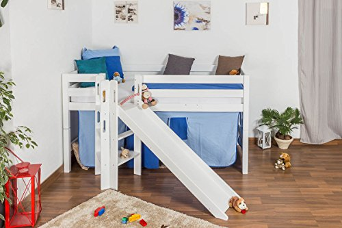 Children's bed / Loft Bunk bed Samuel solid beech wood, in a white paint finish, includes slide, includes roll-up grille - 90 x 200 cm