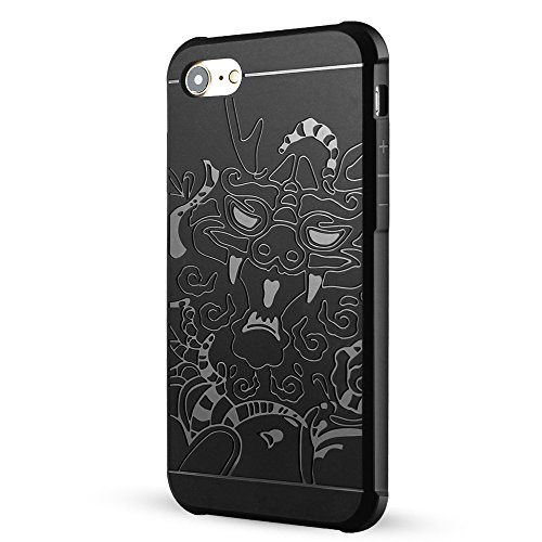 iPhone 7 hülle,iPhone Se hülle,Lizimandu Case Für apple iphone7 aus TPU Silikon - Handy Schutzhülle Cover(Drachen Blau/Dragon Blue) Drachen Schwarz/Dragon Black
