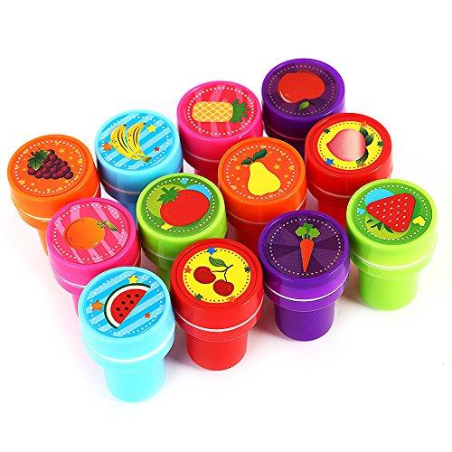 Lanlan 12pCS kleines Frucht Dichtungs Stampfer Kinderspielzeug mit Farbgeschenk Kasten