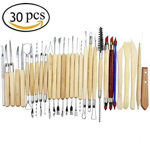 Pingranso outils de sculpture d'argile de sculpture/30 pcs – Comprend l'argile Couleur Shapers, outils de modelage et Sculpture en bois couteau pour professionnel ou débutant