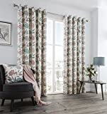 "Blush Pink Teal Grey Modern Floral Leaf Lined Eyelet Ring Top Cotton Curtains 66 "" x 72 "" ( 168 cm Wide x 183 cm Drop )"