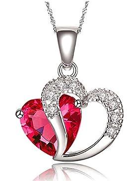 findout Damen Amethyst rot, rosa, blau weiß Kristall-Herz-Silber-Anhänger Halskette für Frauen Mädchen.