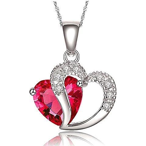 Findout - Collana per donna con swarovski Element, con ciondolo in ametista, rosso, rosa, blu bianco cristallo a forma di cuore
