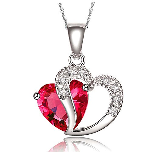 Findout elemento signore swarovski ametista, rosso, rosa blu bianco collana pendente di cristallo del cuore d'argento, per le donne le ragazze