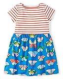 Kaily Mädchen Baumwolle Freizeit Kurze Ärmel Streifen T-Shirt Kleid (3 Jahren, S0203)