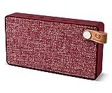 Fresh 'n Rebel Speaker Rockbox Slice Fabriq Edition, Altoparlante Wireless tascabile 6W, Extra Bass, Bluetooth, portatile, senza fili, in tessuto, vivavoce, Compatibilità Smartphone/Tablet/laptop e MP3 rosso ruby