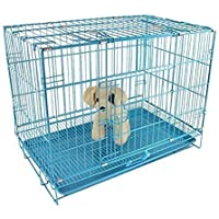 RvPaws Dog Cage Blue Poweder Coated 36 Inch Iron Cage with Removable Tray for Dog(Large)