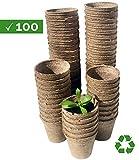 Watooma Pots biodégradables, 100Biodégradable Fibre Pots de semences pour Semis–6cm Rond