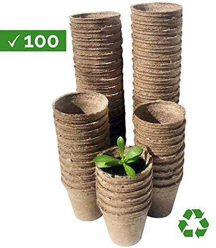Watooma Pots biodégradables, 100 Biodégradable Fibre Pots de semences pour Semis - 6 cm Rond