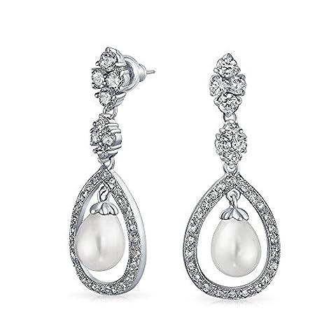 Bling Jewelry Ouvrir CZ Teardrop Boucles d'Pearl simulé laiton Rhodié
