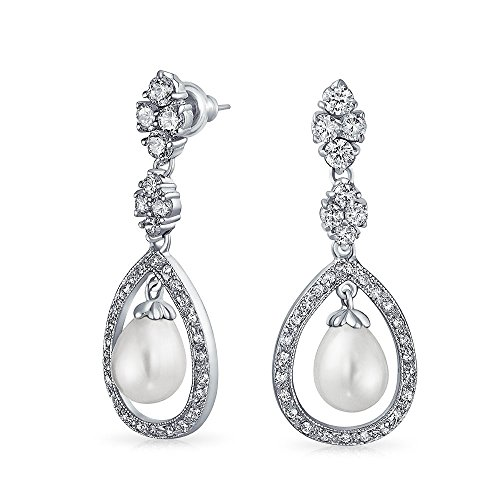 Bridal Drop Earrings Pave CZ Open Teardrop Dangle 10mm Simulated Pearl Rhodium Plated