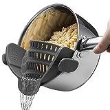 CHIPYHOME Colador escurridor silicona adaptable a ollas cazuelas con pestañas recetas pastas arroz color gris
