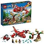 LEGO CityFire AereoAntincendio, Set con Aeroplano, Buggy, 3 Minifigure dei Vigili del Fuoco, Puzzola e Alberi in Fiamme da Costruire, Giocattoli Ispirati ai Pompieri per Bambini, 60217  LEGO
