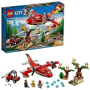 LEGO CityFire AereoAntincendio, Set con Aeroplano, Buggy, 3 Minifigure dei Vigili del Fuoco, Puzzola e Alberi in Fiamme da Costruire, Giocattoli Ispirati ai Pompieri per Bambini, 60217 5702016369496 LEGO
