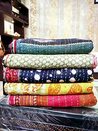 Indische Vintage Bengali Kantha Quilts Marusthali 20 Stück Gesamtangebot Lot von Indischen Tribal Kantha Quilts Vintage Baumwolle Bettdecke werfen Old Sari Assorted Patches gemacht Rally Decke gemacht (Werfen Patch Decke Quilt)