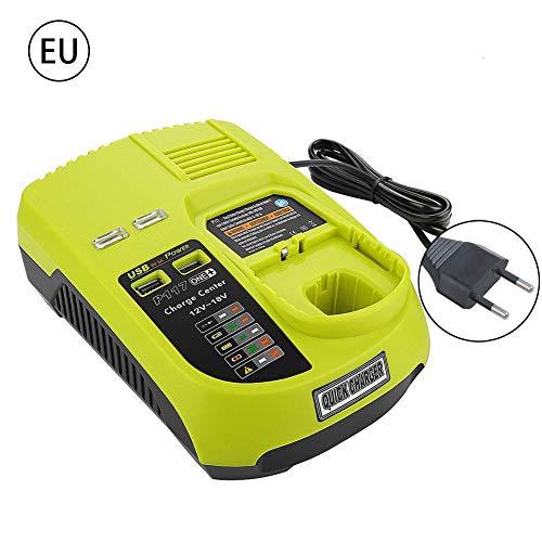 cuffslee P117 Power Tools Akku-Ladegerät für RYOBI P117 12V-18V Lithium Nickel Universal-Ladegerät mit USB-Schnittstelle