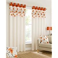 Mirabel - 2 cortinas con forro y ojales - Estampado floral - naranja - 117 cm de ancho x 229 cm de largo
